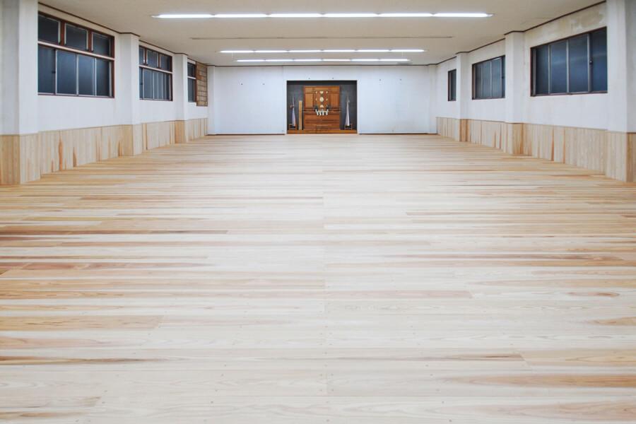 剣道場専用床材施工例,山梨県富士吉田市,個人住宅,杉