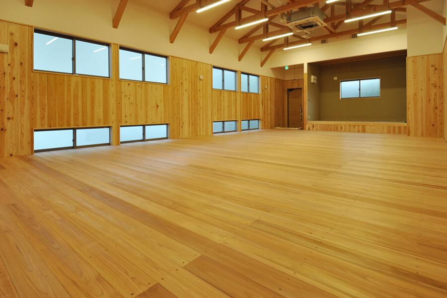 剣道場床工事実績,施工例,福岡県,弾性床,工法,杉