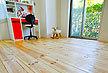 神奈川県 マンション 無垢 テーダ ボルドーパイン  フローリング施工画像 針葉樹木材 品番:TD-01 オスモ オイルワックス塗装仕上げ 節有 ショールーム展示 幅広 框材 200mm巾x20mm厚 4枚入り